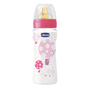 Chicco Well-Being Пляшка пластик 330 мл, соска латекс, 4m+